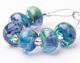 Rainforest Spacer Swirl - Handmade Lampwork Glass Beads by Sarah Downton