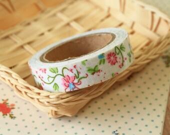Pink Flower White Garden Flowers deco fabric tape