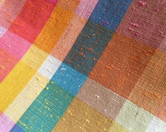 """Vintage 60's/70's Sherbet Plaid Cotton Blend Fabric BTY 45"""" Wide"""
