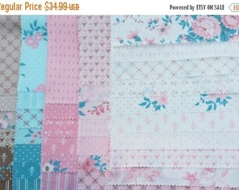25 Off Sale KINDRED SPIRITS 36 piece sample set Bunny Hill Designs quilt fabric Moda shabby cottage pink teal brown roses fleur de lis Anne