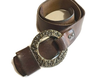 Vintage Leather Belt, wide Chunky with Large Buckle, Retro Rocker Belt