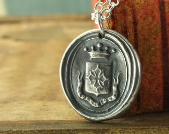 Faith Hope Love Wax Seal Pendant, Mens Cross Necklace, Sterling Silver, Gift Present Unisex Man Woman Guy, Latin Motto Spes Fides