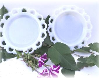 2 Scalloped Edged Milk Glass Plates Vintage
