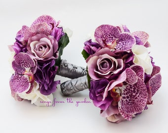 Orchids Roses Hydrangea Wedding Flower Package Bridesmaid Bouquet Real Touch Roses Silk Roses Hydrangea Plum Purple Ivory