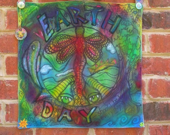 Handpainted Hippie Art, Earth Day...Should Be Everyday, Peace Flag, Boho Hippie Home