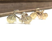 Raw Brass Bicycle Cuff Links - Bike Cycling Racing Wedding Cufflinks Soldered