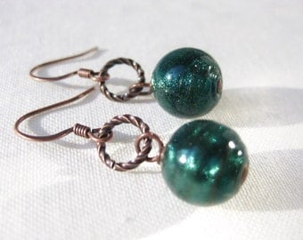 Teal Earrings Sparkling Blue Green Round Glass Dangle on Twisted Antique Copper Circles Handmade Jewelry Canada
