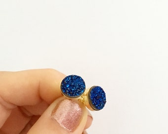 Sparkling Midnight Blue Natural Druzy Stud Earrings - Gold or Sterling Silver