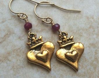 Heart Crown Ruby Earrings Gold Filled July Birthstone