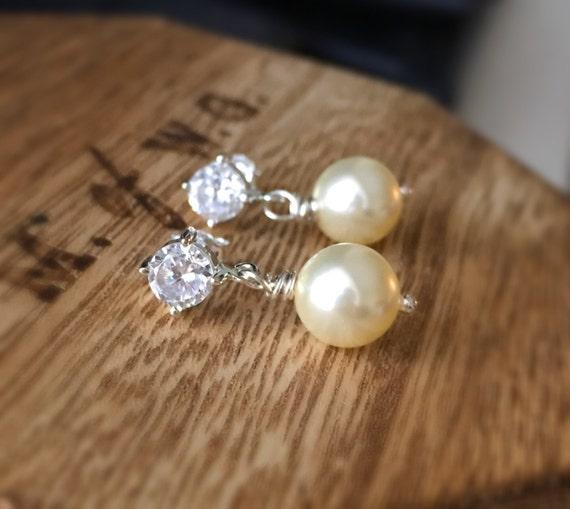 Ivory Pearl Earrings with Cubic Zirconia, CZ Stud, Pearl Drop Earring, Bridesmaid, Dangle, Swarovski, Sterling Silver, Pearl Bridal Jewelry