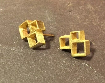 Sterling silver and 22ct yellow gold handmade block stud earrings