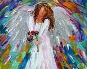 Angel painting original oil Spring Angel 6x6 palette knife impressionism on canvas fine art by Karen Tarlton