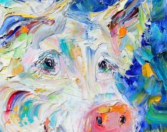 Original oil painting Pig portrait palette knife impressionism on canvas fine art by Karen Tarlton