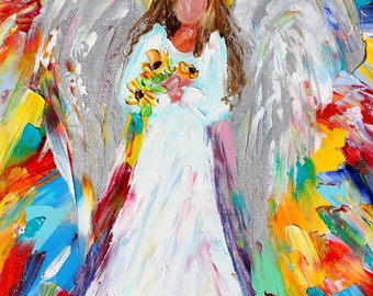 Angel painting original oil - Heaven Scent abstract impressionism fine art impasto on canvas by Karen Tarlton