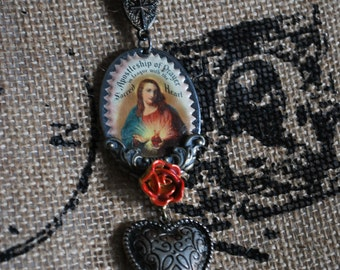 Assemblage found object vintage Sacred heart scapular puffed heart religious pendant necklace