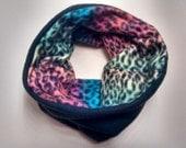 SALE One Size Cozy Fleece Neckwarmer -  Animal Print Rainbow - Reversible!