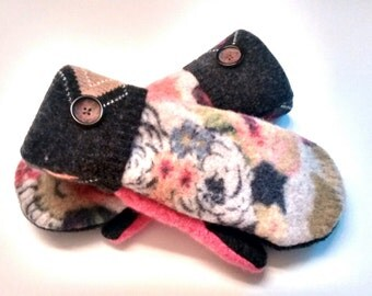 Etsy mittens, floral, argyle, buttons,pink, women's mittens, fleece lined mittens, felted wool mittens, etsy sweater mittens