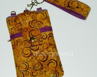 Gold Honey Yellow & Purple  Phlox Swirls or Floral Batik Phone Case with Wristlet iPhone 4 5 6 Plus Xperia Note Samsung LG Jewel