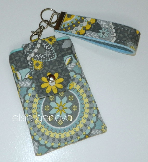 Clearance Ready to Ship Gray Pink Orange Kaleidoscope Phone Case with Wristlet iPhone 4 5 Flip Phone iPod Sale