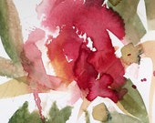 Rose no. 12 original watercolor painting by Angela Moulton 5 x 7 inch with 8 x 10 inch mat