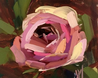 Garden Rose no. 23 original floral oil painting by Angela Moulto 6 x 6 inch on panel pre-order