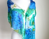 Hand Painted Silk Scarf - Floral Scarves - Blue Hydrangeas - Blue and Green