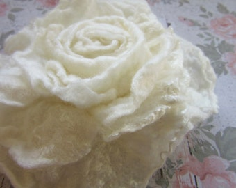 White Flower Pin - White Rose Brooch - Brides Scarf Pin - Stole Pin - Fiber Broach