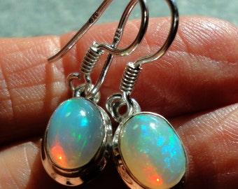 Opal Earrings Genuine Solid AAA Quality Opal Cabochons Bezel Set in Solid Sterling Dangle Earrings