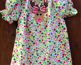 Girls Christmas Peasant Dress with Reindeer Applique