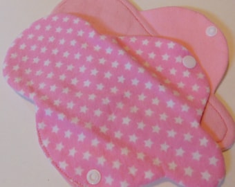 Pink Stars, Reusable Cotton Thong  Panty Liner, Lightweight, 4 or 6 layers, all 100% cotton flannel.