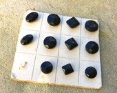 Black Cut Glass Buttons on Old Cardstock Antique Buttons Sample Buttons
