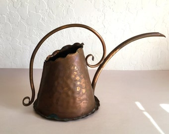 Vintage Gregorian Copper Watering Can Hammered Copper Garden Ware