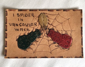 Vintage Leather Post Card NOS Card Spiders Vancouver Washington
