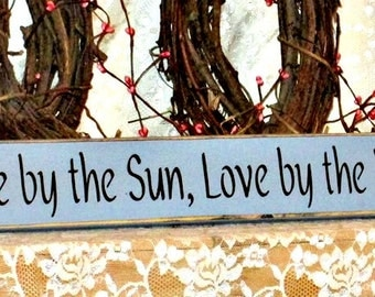 Live by the Sun, Love by the Moon - Primitive Country Painted Wood Wall Sign, Wall Decor, Beach Sign, Beach Decor, Summer Decor, Summer Sign