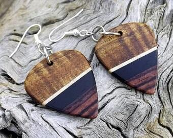 Multi-Wood Guitar Pick Earrings - Premium Quality - Handmade - Artisan Jewelry - No Stock Photos
