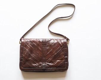 Brown Vintage Eel Skin Convertible Purse