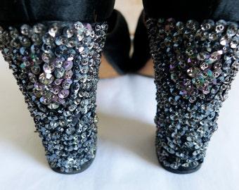 Vintage disco platform satin high heels