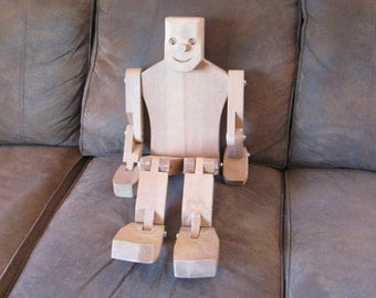 """Amazing Wooden 30"""" Tall Dancing Man - Jig Doll - Jointed - Puppet - Toy - Display Prop"""