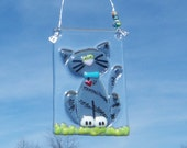 Gray // Tabby Cat // Fused GLass Suncatcher // Kitty // BLack // Grey // Whimsical // Cute // Fun // Quirky // Heart // Pet // Friend