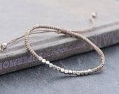 Cube Adjustable Taupe Silver Beaded Bracelet Unisex