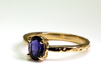 Solid Gold Blue Iolite Set Tree Bark Ring Made in NYC