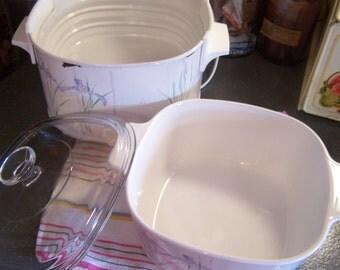 Vintage Rival Crock Pot/Slow Cooker, Rare, Corning Ware Iris, 3 Pc Set, 3 Ltr, 3 Quart, 1980s
