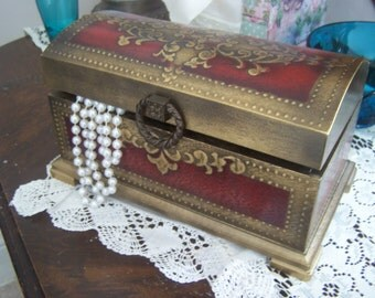 Vintage Musical Jewelry Box, Treasure Chest, Red and Gold, Japan, Plays The Shadow of Your Smile