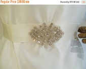ON SALE Bridal Rhinestone Sash, Crystal Sash, Bridal Belt, Wedding Sash, Bridesmaid Sash
