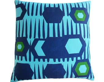 Sky blue and navy and kelly green pillow in our new tribal geometric 2 color print