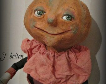 Pumpkin doll cloth and clay, folk art OOAK art doll