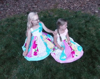 Vintage Inspired Floral Dress, Twirly Skirt, Patchwork Dress, ruffles, pink, blue, yellow, red, party dress, daddy daughter dance, birthday