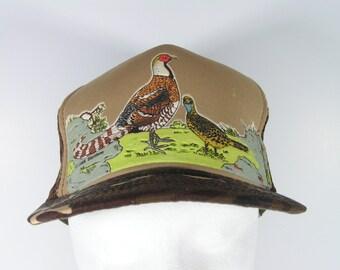 mesh truckers cap camoflauge pheasants grouse hat bird hunting green brown 1980's vintage fashion