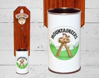 Gift for Guy Wall Mounted Bottle Opener with Vintage Iron City Mountaineers Beer Can Cap Catcher - Gift for Guy