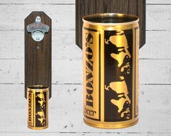 Bonzo's Beer Wall Mounted Bottle Opener with Vintage Beer Can Cap Catcher